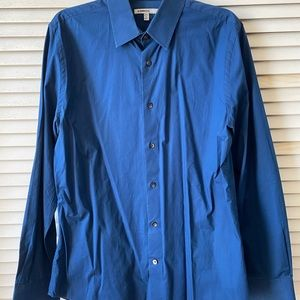 Express 1MX Slim/Fitted Solid Dress Shirt Ink/Navy